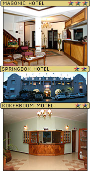 J C Botha Hotels, Masonic Hotel, Springbok Hotel and Kokerboom Motel, Springbok, Northern Cape